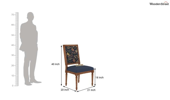Bonita 2 Seater Printed Dining Set (Dusky Leaf, Teak Finish)-9