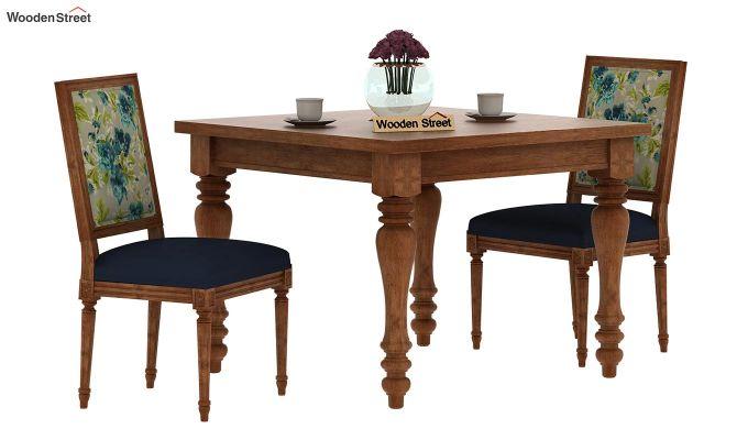 Bonita 2 Seater Printed Dining Set (Teal Tulip, Natural Finish)-2