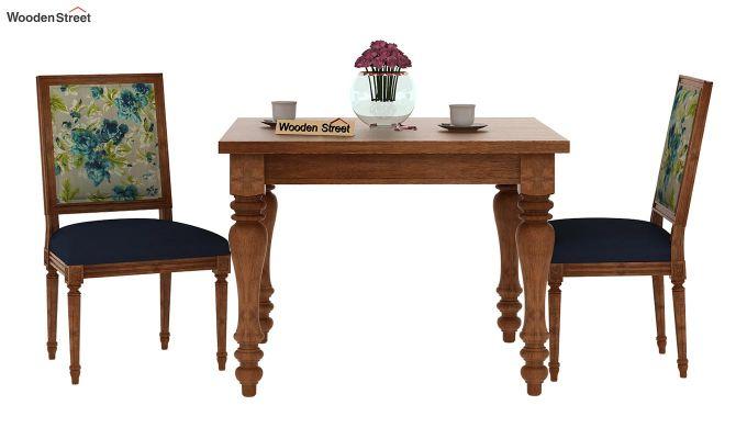 Bonita 2 Seater Printed Dining Set (Teal Tulip, Natural Finish)-3