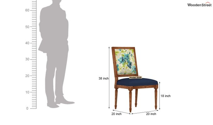 Bonita 2 Seater Printed Dining Set (Teal Tulip, Natural Finish)-9