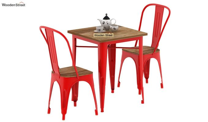 Cora Metal 2 Seater Dining Set (Natural Finish)-1