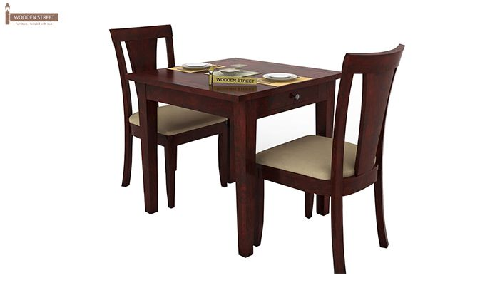 Mcbeth Storage 2 Seater Dining Table Set (Mahogany Finish)-1