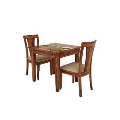 Mcbeth Storage 2 Seater Dining Table Set (Teak Finish)