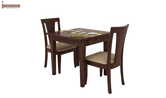 Mcbeth Storage 2 Seater Dining Table Set (Walnut Finish)-1