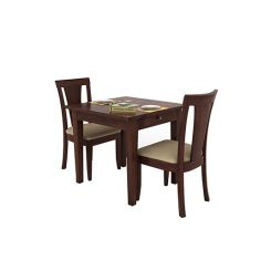 Mcbeth Storage 2 Seater Dining Table Set (Walnut Finish)