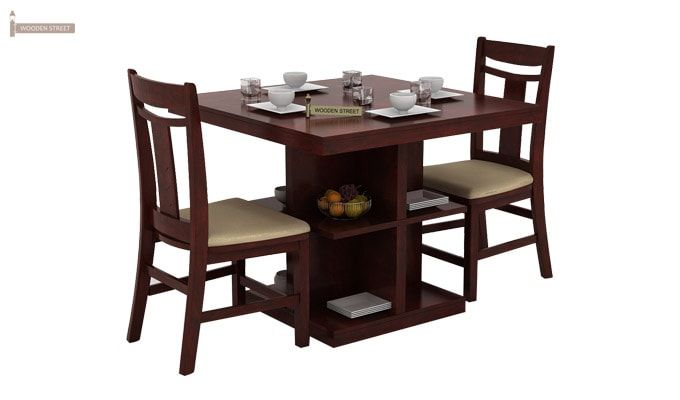 Ralph 2 Seater Dining Set with Storage (Mahogany Finish)-1