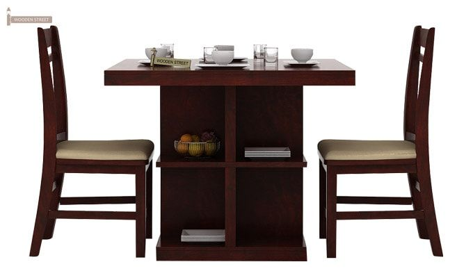 Ralph 2 Seater Dining Set with Storage (Mahogany Finish)-2