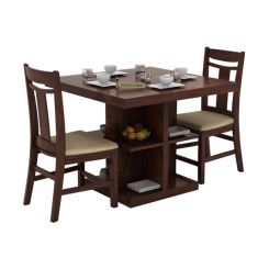 Ralph 2 Seater Dining Set with Storage (Walnut Finish)
