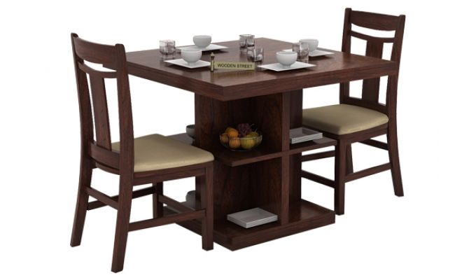 Ralph 2 Seater Dining Set with Storage (Walnut Finish)-1