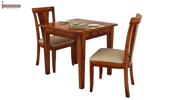 Mcbeth Storage 2 Seater Dining Table Set (Honey Finish)-3