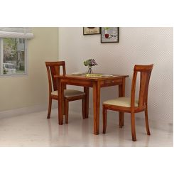 Mcbeth Storage 2 Seater Dining Table Set (Honey Finish)