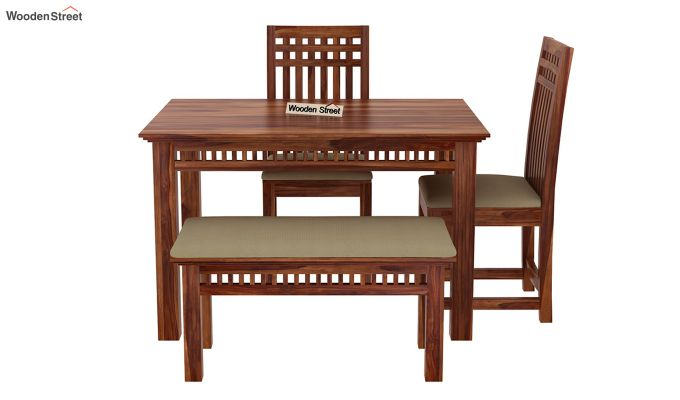 Adolph Compact 4 Seater Dining Set with Bench (Teak Finish)-6
