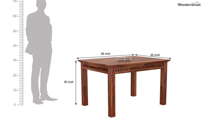 Adolph Compact 4 Seater Dining Set with Bench (Teak Finish)-13