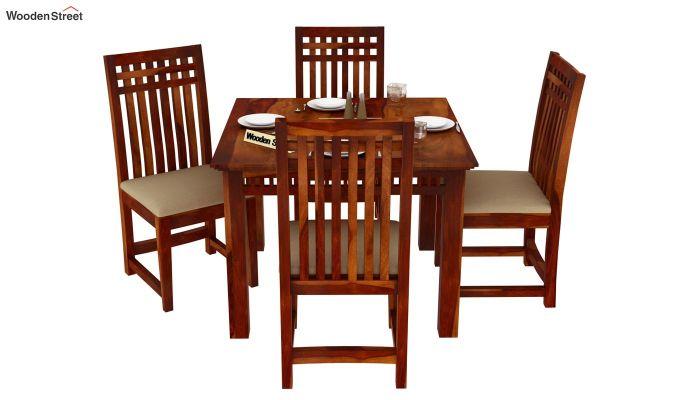 Adolph 4 Seater Dining Set (Honey Finish)-2
