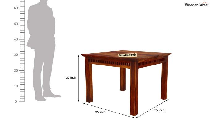 Adolph 4 Seater Dining Set (Honey Finish)-7