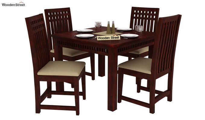 Adolph 4 Seater Dining Set (Mahogany Finish)-1