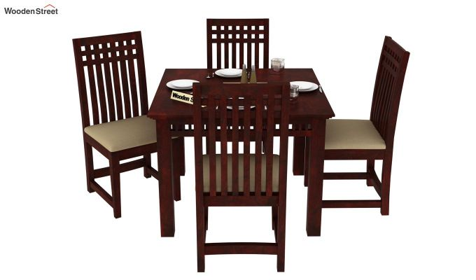 Adolph 4 Seater Dining Set (Mahogany Finish)-2