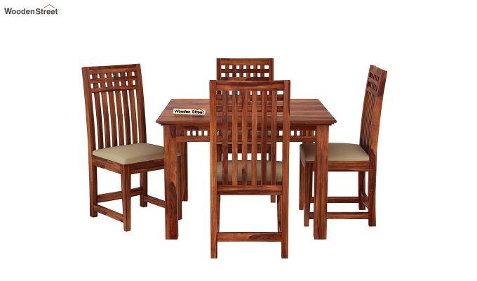 Adolph 4 Seater Dining Set (Honey Finish)-3