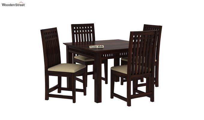 Adolph 4 Seater Dining Set (Walnut Finish)-2
