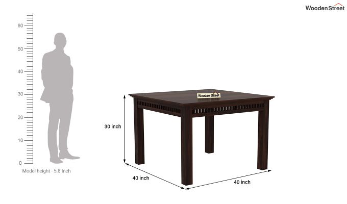 Adolph 4 Seater Dining Set (Walnut Finish)-8