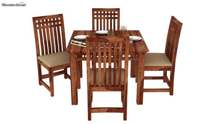 Adolph 4 Seater Dining Set (Teak Finish)-2