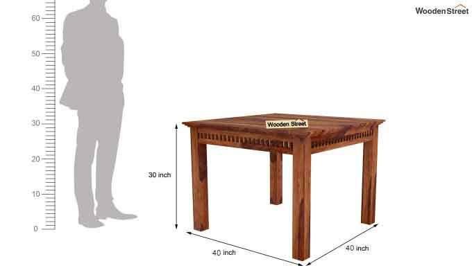 Adolph 4 Seater Dining Set (Teak Finish)-7