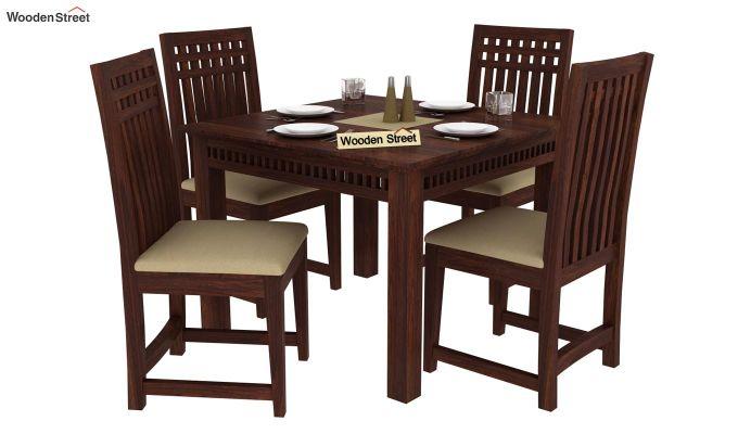 Adolph 4 Seater Dining Set (Walnut Finish)-1