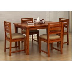 Advin 4 Seater Extendable Dining Set (Cream, Honey Finish)