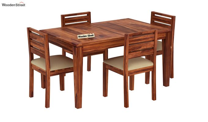 Advin 4 Seater Extendable Dining Set (Honey Finish)-2