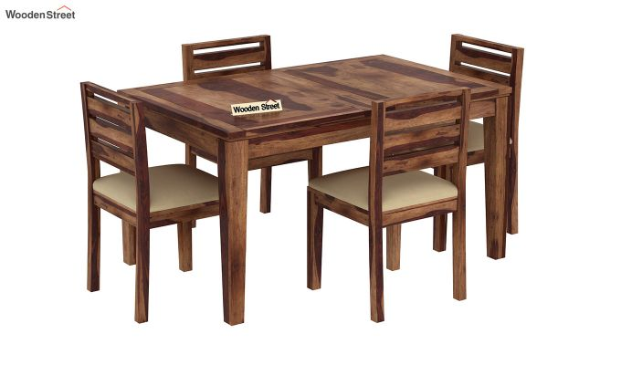Advin 4 Seater Extendable Dining Set (Teak Finish)-2