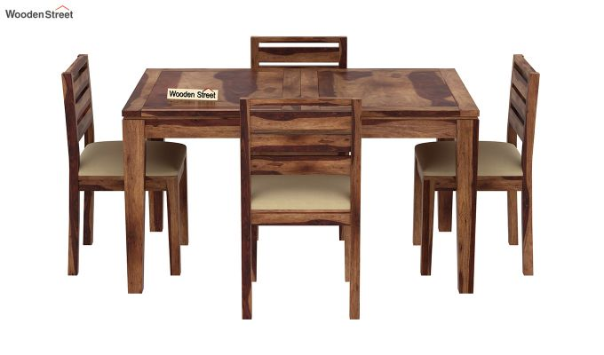 Advin 4 Seater Extendable Dining Set (Teak Finish)-3