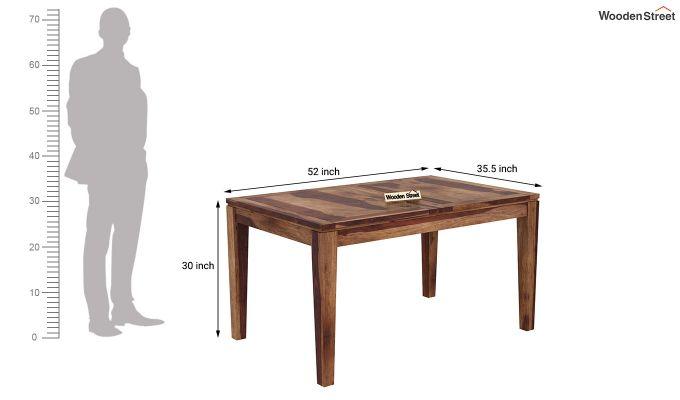 Advin 4 Seater Extendable Dining Set (Teak Finish)-11