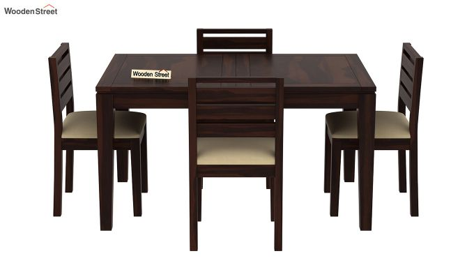 Advin 4 Seater Extendable Dining Set (Walnut Finish)-3