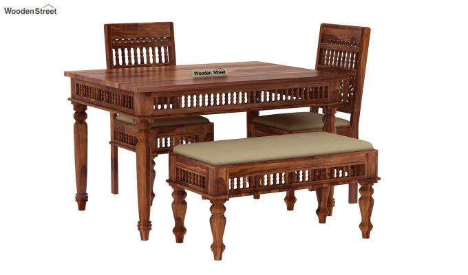 Alanis Compact 4 Seater Dining Set with Bench (Teak Finish)-3