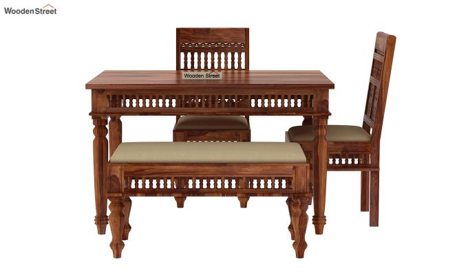 Alanis Compact 4 Seater Dining Set with Bench (Teak Finish)-4