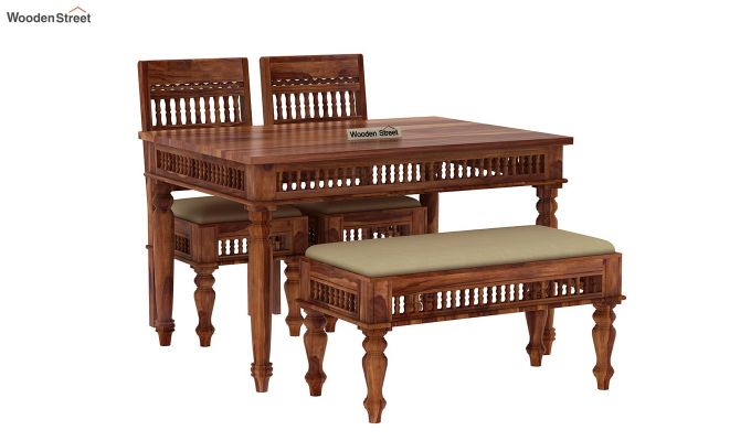 Alanis Compact 4 Seater Dining Set with Bench (Teak Finish)-5