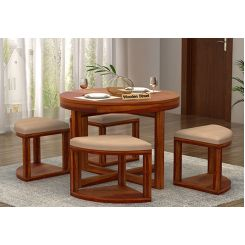 Alvan 4 Seater Round Dining Set (Honey Finish)