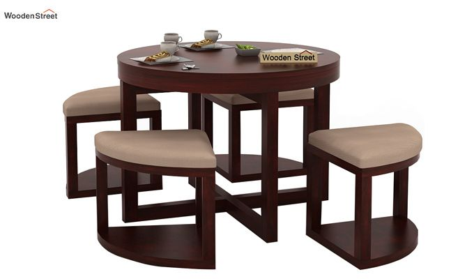 Alvan 4 Seater Round Dining Set (Mahogany Finish)-1