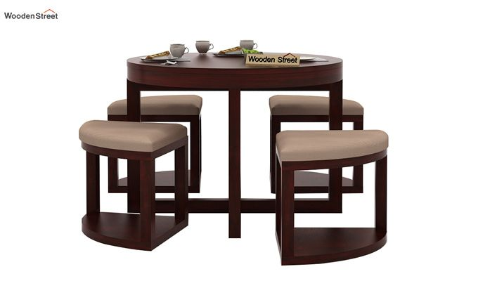 Alvan 4 Seater Round Dining Set (Mahogany Finish)-2