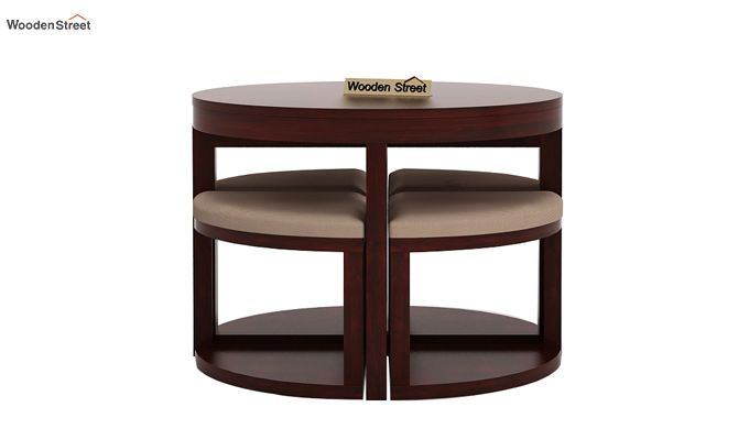 Alvan 4 Seater Round Dining Set (Mahogany Finish)-3