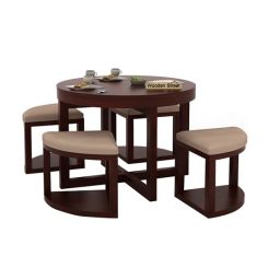 Alvan 4 Seater Round Dining Set (Mahogany Finish)