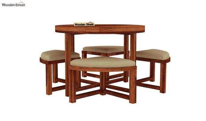 Alvan 4 Seater Round Dining Set (Honey Finish)-3
