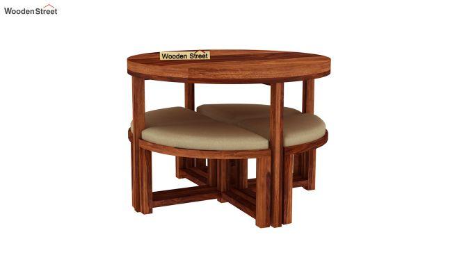 Alvan 4 Seater Round Dining Set (Honey Finish)-4