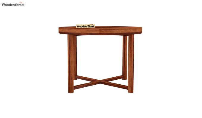 Alvan 4 Seater Round Dining Set (Honey Finish)-5