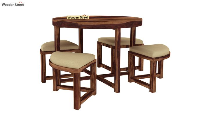 Alvan 4 Seater Round Dining Set (Teak Finish)-2
