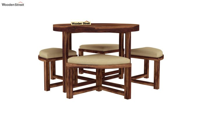 Alvan 4 Seater Round Dining Set (Teak Finish)-3