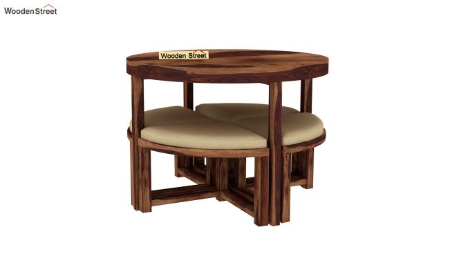 Alvan 4 Seater Round Dining Set (Teak Finish)-4