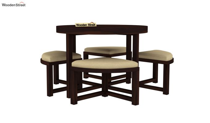 Alvan 4 Seater Round Dining Set (Walnut Finish)-3