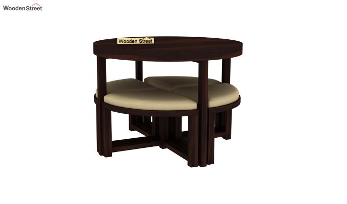 Alvan 4 Seater Round Dining Set (Walnut Finish)-4