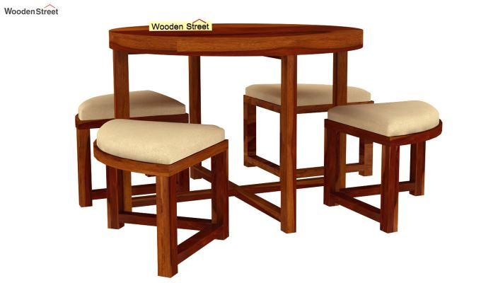 Alvan 4 Seater Round Dining Set (Honey Finish)-2